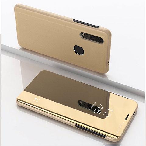 Coque Portefeuille Livre Cuir Miroir Housse Etui Clapet pour Huawei Honor 20 Lite Or