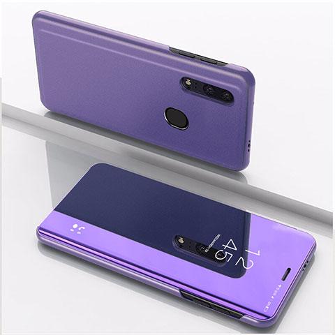Coque Portefeuille Livre Cuir Miroir Housse Etui Clapet pour Huawei Honor 20 Lite Violet