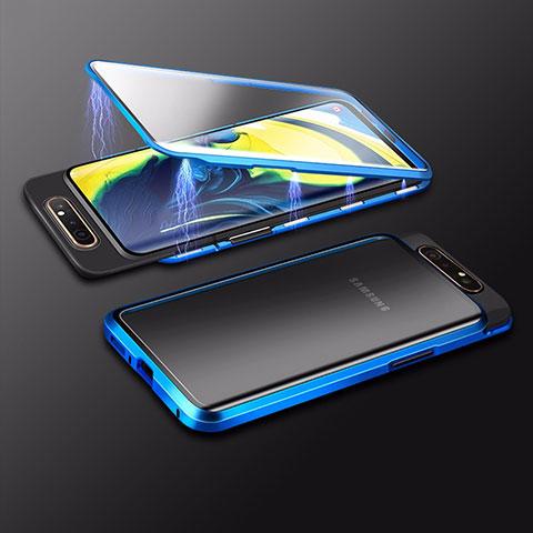 Coque Rebord Bumper Luxe Aluminum Metal Miroir 360 Degres Housse Etui Aimant M01 pour Samsung Galaxy A80 Bleu
