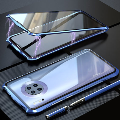 Coque Rebord Bumper Luxe Aluminum Metal Miroir 360 Degres Housse Etui Aimant M08 pour Huawei Mate 30 5G Bleu