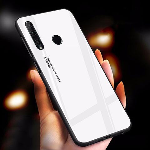 Coque Rebord Contour Silicone et Vitre Miroir Housse Etui Degrade Arc en Ciel pour Huawei Honor 20 Lite Blanc