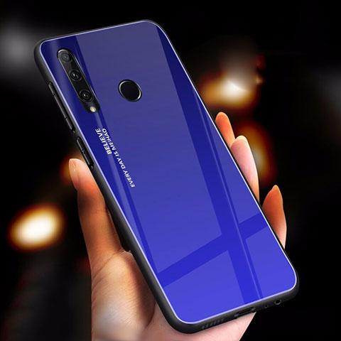 Coque Rebord Contour Silicone et Vitre Miroir Housse Etui Degrade Arc en Ciel pour Huawei Honor 20 Lite Bleu