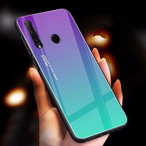 Coque Rebord Contour Silicone et Vitre Miroir Housse Etui Degrade Arc en Ciel pour Huawei Honor 20 Lite Cyan