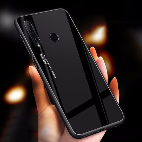 Coque Rebord Contour Silicone et Vitre Miroir Housse Etui Degrade Arc en Ciel pour Huawei Honor 20 Lite Noir