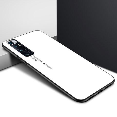 Coque Rebord Contour Silicone et Vitre Miroir Housse Etui pour Xiaomi Mi 10 Ultra Blanc