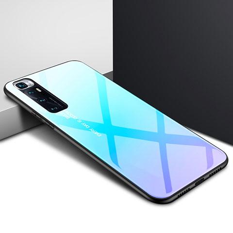 Coque Rebord Contour Silicone et Vitre Miroir Housse Etui pour Xiaomi Mi 10 Ultra Bleu Ciel