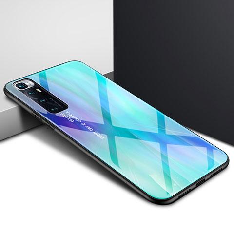 Coque Rebord Contour Silicone et Vitre Miroir Housse Etui pour Xiaomi Mi 10 Ultra Cyan