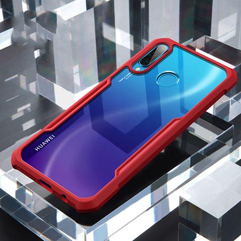 Coque Rebord Contour Silicone et Vitre Transparente Miroir Housse Etui H01 pour Huawei P30 Lite Rouge