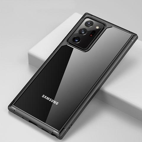 Coque Rebord Contour Silicone et Vitre Transparente Miroir Housse Etui H02 pour Samsung Galaxy Note 20 Ultra 5G Noir