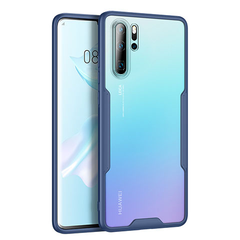 Coque Rebord Contour Silicone et Vitre Transparente Miroir Housse Etui M03 pour Huawei P30 Pro Bleu