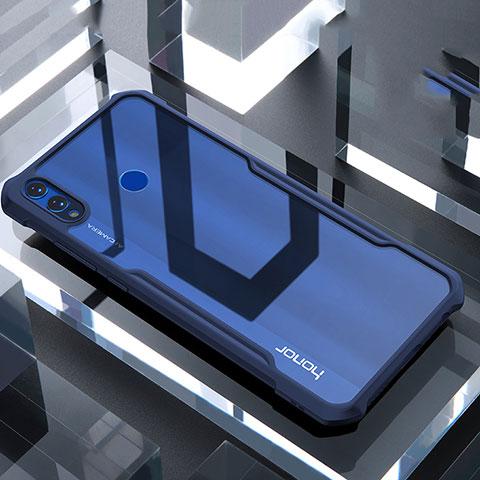 Coque Rebord Contour Silicone et Vitre Transparente Miroir Housse Etui pour Huawei Honor 8X Bleu