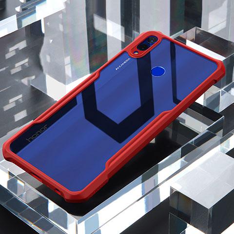 Coque Rebord Contour Silicone et Vitre Transparente Miroir Housse Etui pour Huawei Honor 8X Rouge