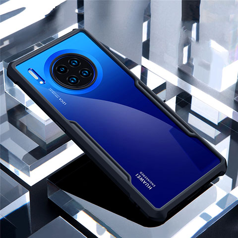 Coque Rebord Contour Silicone et Vitre Transparente Miroir Housse Etui pour Huawei Mate 30 Noir