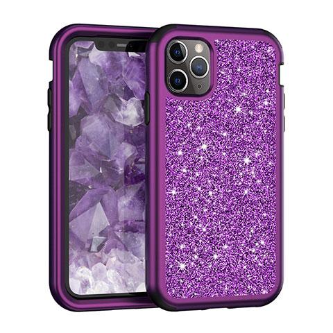Coque Silicone et Plastique Housse Etui Protection Integrale 360 Degres Bling-Bling pour Apple iPhone 11 Pro Max Violet