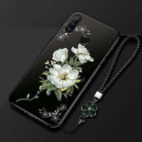 Coque Silicone Fleurs Souple Couleur Unie Etui Housse pour Huawei Honor 20 Lite Noir