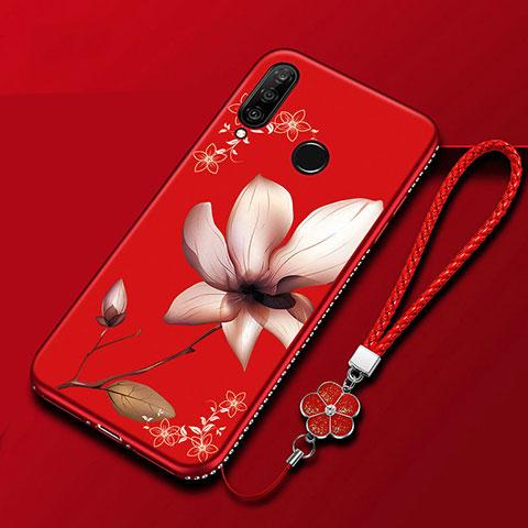 Coque Silicone Fleurs Souple Couleur Unie Etui Housse pour Huawei Honor 20 Lite Rouge