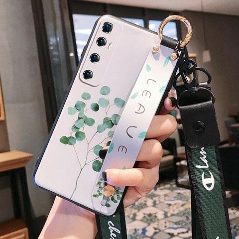 Coque Silicone Fleurs Souple Couleur Unie Etui Housse pour Xiaomi Mi 10 Ultra Vert