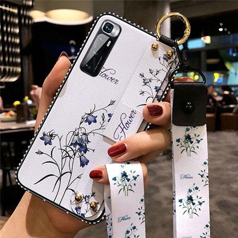 Coque Silicone Fleurs Souple Couleur Unie Etui Housse S01 pour Xiaomi Mi 10 Ultra Blanc