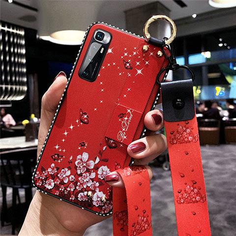 Coque Silicone Fleurs Souple Couleur Unie Etui Housse S01 pour Xiaomi Mi 10 Ultra Rouge