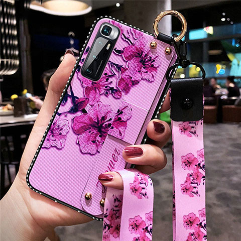 Coque Silicone Fleurs Souple Couleur Unie Etui Housse S01 pour Xiaomi Mi 10 Ultra Violet Clair