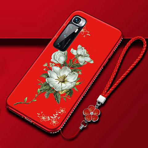 Coque Silicone Fleurs Souple Couleur Unie Etui Housse S03 pour Xiaomi Mi 10 Ultra Rouge