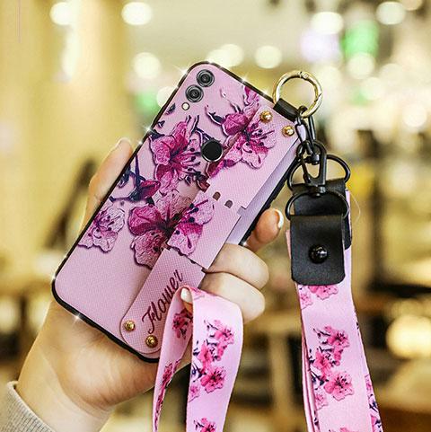 Coque Silicone Fleurs Souple Couleur Unie S01 pour Huawei Honor 8X Rose