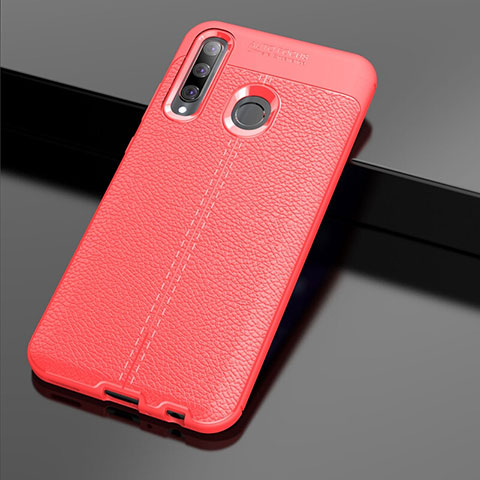 Coque Silicone Gel Motif Cuir Housse Etui S01 pour Huawei Honor 20 Lite Rouge