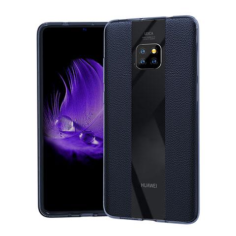 Coque Silicone Gel Motif Cuir Housse Etui S04 pour Huawei Mate 20 Pro Bleu