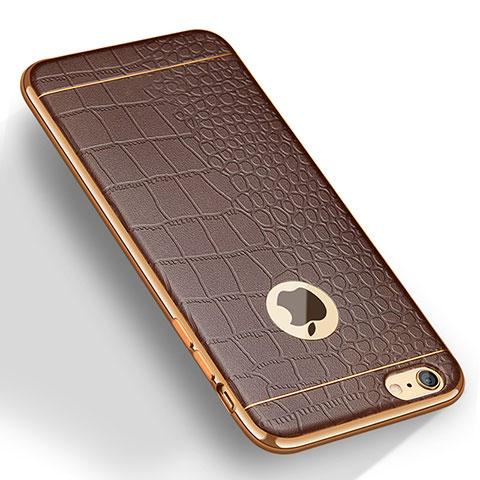 coque silicone gel motif cuir pour apple iphone 6s plus marron 13074 1