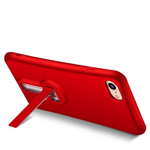 coque silicone gel souple couleur unie avec support s02 pour apple iphone 7 rouge 13169 1