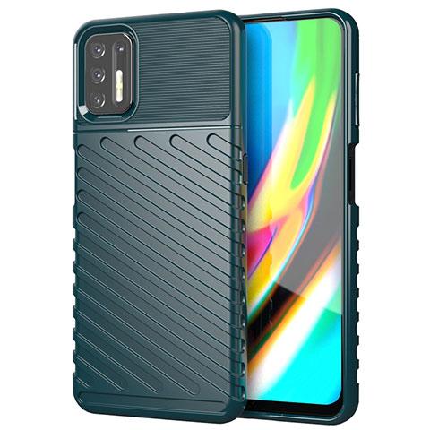 Coque Silicone Housse Etui Gel Line pour Motorola Moto G9 Plus Vert