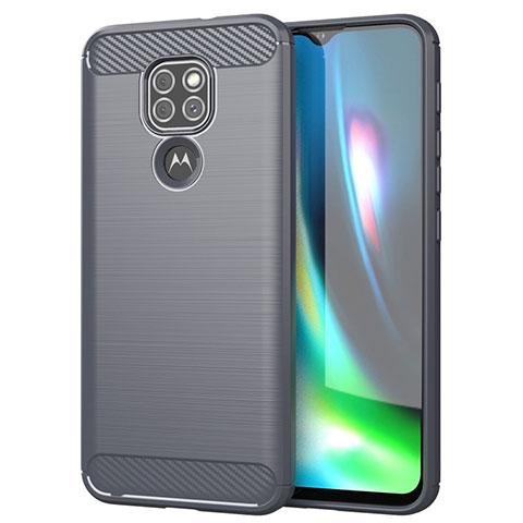 Coque Silicone Housse Etui Gel Line S01 pour Motorola Moto G9 Gris
