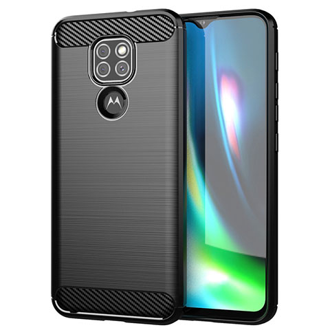Coque Silicone Housse Etui Gel Line S01 pour Motorola Moto G9 Noir