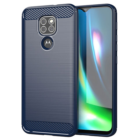 Coque Silicone Housse Etui Gel Line S01 pour Motorola Moto G9 Play Bleu