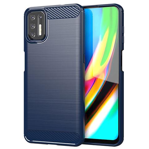 Coque Silicone Housse Etui Gel Line S01 pour Motorola Moto G9 Plus Bleu
