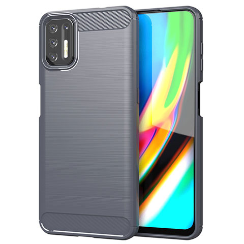 Coque Silicone Housse Etui Gel Line S01 pour Motorola Moto G9 Plus Gris