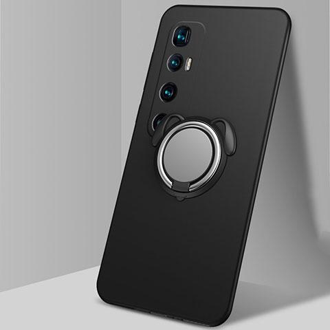 Coque Ultra Fine Silicone Souple Housse Etui avec Support Bague Anneau Aimante Magnetique A01 pour Xiaomi Mi 10 Ultra Noir
