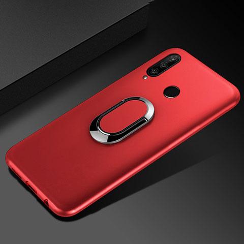 Coque Ultra Fine Silicone Souple Housse Etui avec Support Bague Anneau Aimante Magnetique pour Huawei Honor 20 Lite Rouge