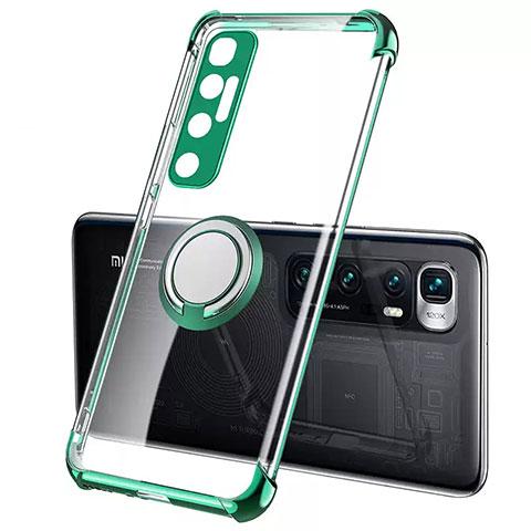Coque Ultra Slim Silicone Souple Housse Etui Transparente avec Support Bague Anneau Aimante Magnetique S01 pour Xiaomi Mi 10 Ultra Vert