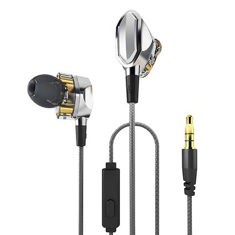 Ecouteur Casque Filaire Sport Stereo Intra-auriculaire Oreillette H04 Argent