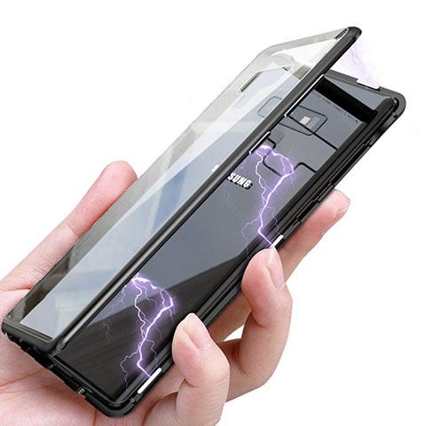 Etui Luxe Aluminum Metal et Vitre Transparente Miroir pour Samsung Galaxy Note 9 Noir