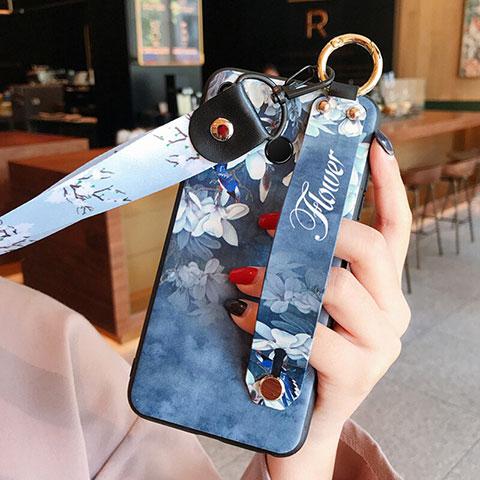Etui Silicone Fleurs Souple Couleur Unie pour Huawei Honor 8X Bleu