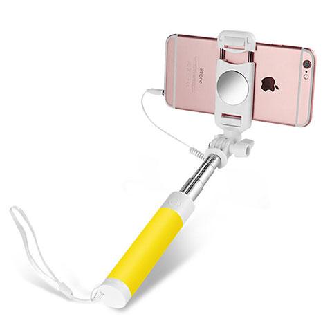 Perche de Selfie Filaire Baton de Selfie Cable Extensible de Poche Universel S02 Jaune