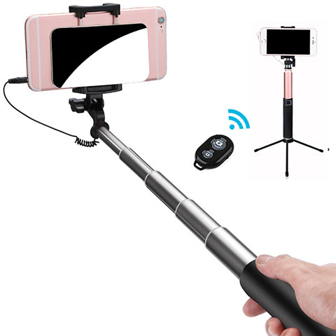 Perche de Selfie Sans Fil Bluetooth Baton de Selfie Extensible de Poche Universel S15 Noir