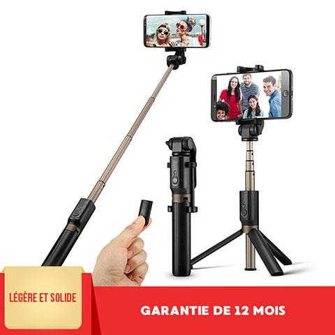 Perche de Selfie Sans Fil Bluetooth Baton de Selfie Extensible de Poche Universel S27 Noir
