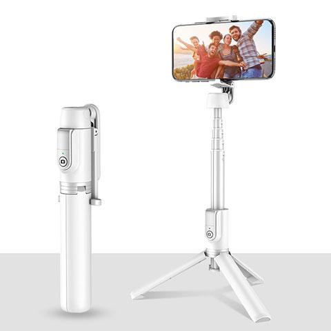 Perche de Selfie Trepied Sans Fil Bluetooth Baton de Selfie Extensible de Poche Universel T28 Blanc
