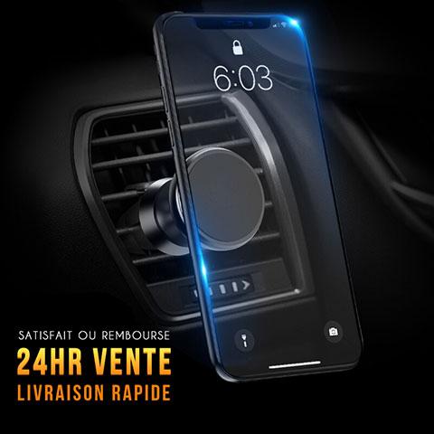Support Telephone Voiture Grille Aeration Magnetique Aimant Universel C01 Noir