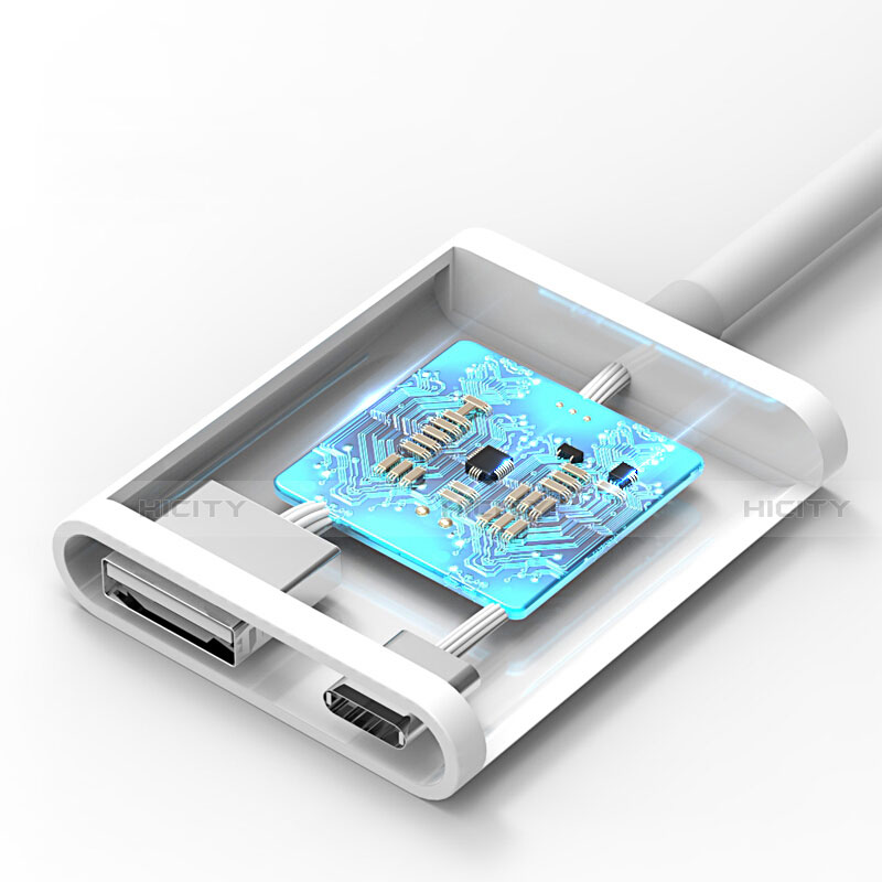 Cable Lightning vers USB OTG H01 pour Apple iPhone 11 Pro Blanc Plus
