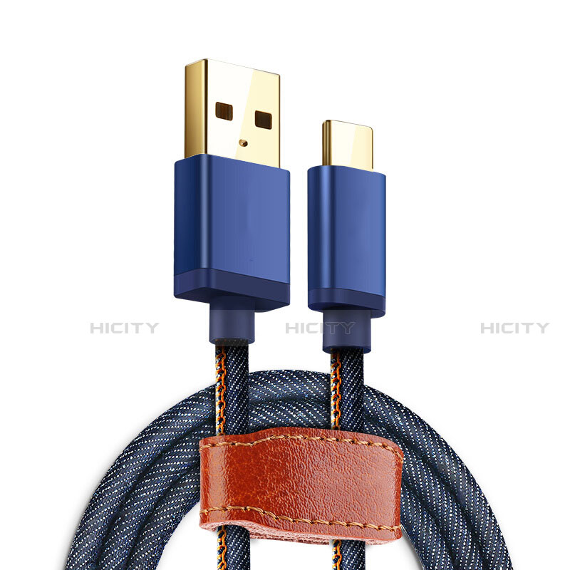 Cable Type-C Android Universel T10 Bleu Plus