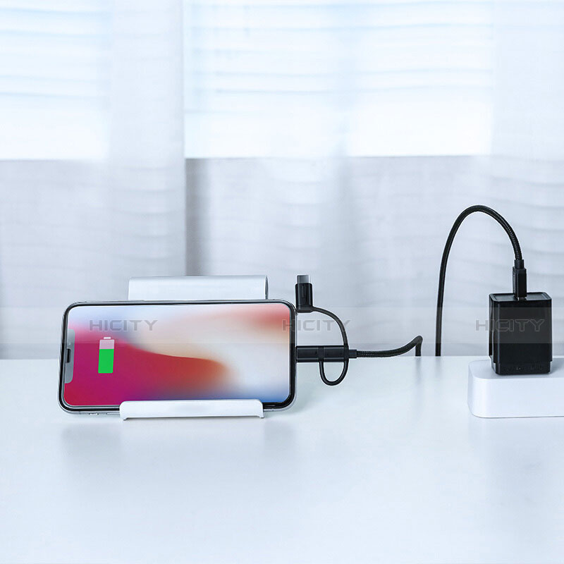 Chargeur Lightning Cable Data Synchro Cable Android Micro USB C01 pour Apple iPhone 11 Noir Plus